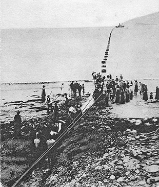 Latying the fifth cable at Waterville